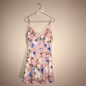 Xhilaration Pink Blue Floral Mini Dress with Bow